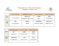 Programme chanaz septembre octobre 2020