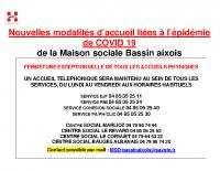 Affiche ouverture COVID 19 Maison sociale BASSIN AIXOIS