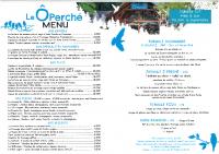 La carte du restaurant Le Ô Perché