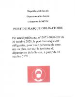 Affiche port du masque Obligatoire en Savoie